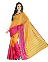 Paaneri Pink Color with Orange Half and Half Blended Cotton Saree_15103503305