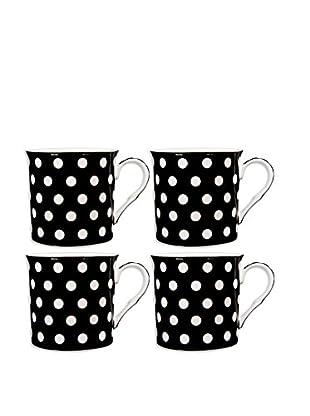 Home Essentials Set of 4 White & Black Polka Dots 10-Oz. Mugs