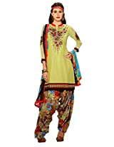 Inddus Women Lime Green Embroidered Cotton Blend Dress Material