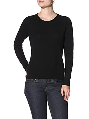 Cashmere Addiction Women's Long Sleeve Crew Neck Sweater (Black)
