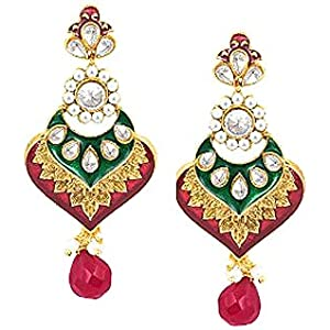 Sukkhi Artistically Crafted Meenakari Gold Plated CZ Studded Moti Earring