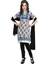 vaamsi embroidered printed dress material (Paro1014_Grey_Free Size)
