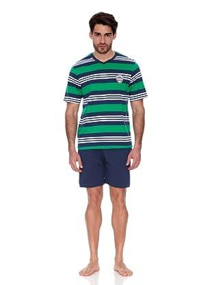 Abanderado Pijama Algodón estampado (Marino / Verde)