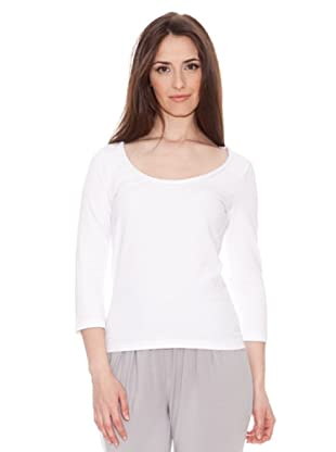 Diktons Camiseta Aplicación Escote (Blanco)