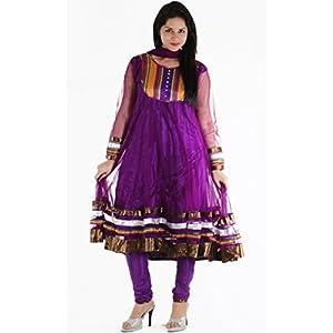 Urbane Woman Women's Net Anarkali Suit (uw.ak.02_Purple_Medium)