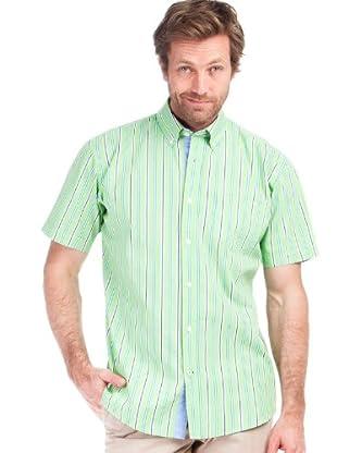 Cortefiel Camisa Rayas (Verde / Aguamarina / Marino)