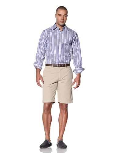 Report Collection Men's Multi-Stripe Shirt (Blue)