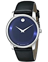 "Movado Men's 0606610 ""Museum"" Stainless Steel Watch with Black Leather Band"