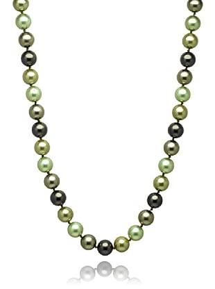 Perldor Kette Muschelkernperlen anthrazit/olivgrün 60650005