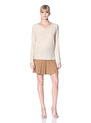 Zero Degrees Celsius Women's Metallic Drape Neck Sweater (Champaigne)