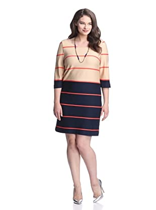 Taylor Women's Striped Colorblock Dress (Tan/Navy)
