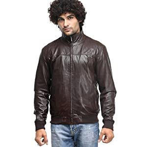 Classic Solid Brown Colored Full Sleeves Leather Jacket by Teakwood