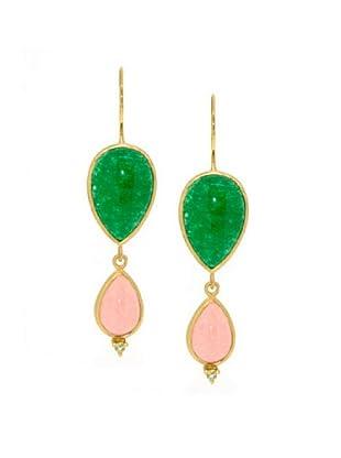 Melin Paris Pendientes Agate Peach, Agate Green, Peridot