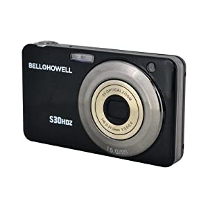 BELL+HOWELL S30HDZ-BK 15.0 Megapixel S30HDZ Slim Digital Camera with 5x Optical Zoom (Black)
