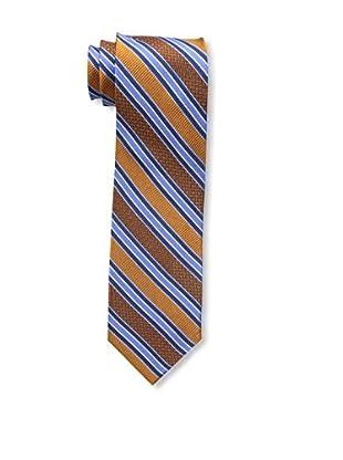 Bruno Piattelli Men's Stripe Silk Tie, Orange Navy