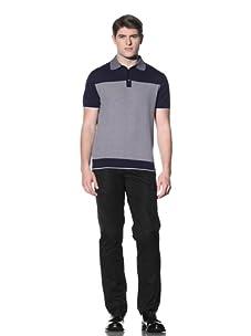 Cruciani Men's Polo (Navy Blue/White)