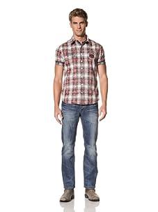 MOD Men's Short Sleeve Woven Shirt (Marine Check)