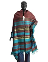 DollsofIndia Rust Color Tussar Chunni with Cyan, Brown and Light Yellow Stripe Pallu - Silk Tussar - Brown