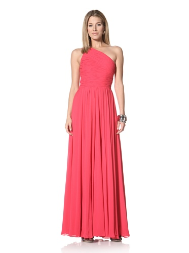 Halston Heritage Women's One-Shoulder Gathered Gown (Rose)