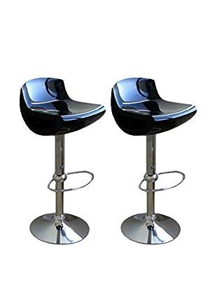 Baxton Studio Set of 2 Adjustable Barstools, Black