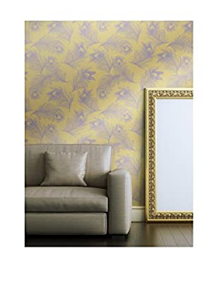 Tempaper Falling Feathers Removable Wallpaper, Gold/Lilac