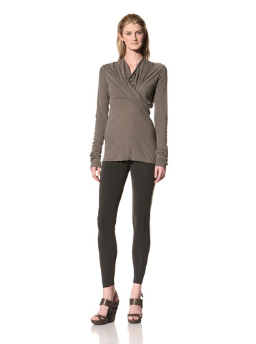 RICK OWENS Women's Cross Drape Cowl Neck Top (Darkdust)