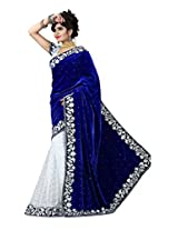 SRP Fashion Selection Women's Valvet saree (SRP103-1024 , Royal Blue And Wight)