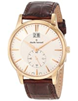Claude Bernard Men's 64005 37R AIR Classic Gents Rose Gold PVD Silver Dial Leather Date Watch