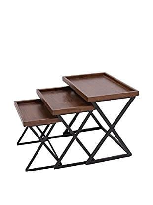 Set of 3 Accent Tables, Brown