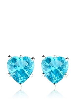 Yanes Pendientes Corazón Topacio Azul