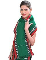 Exotic India Scarf from Nagaland with Thread Weave on Border - Color Verdant GreenColor Free Size
