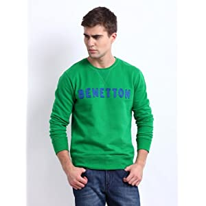 United Colors of Benetton Men Green Sweatshirt