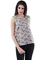 AARR Blue & Green Floral Printed Sleeveless Round Neck Polycotton Top