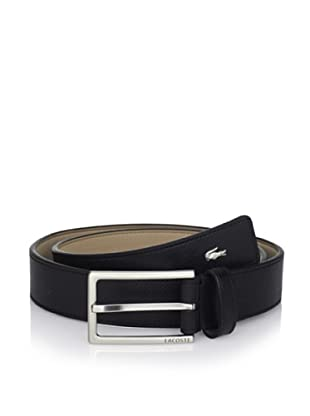 Lacoste Men's Flat Strap Perforated Belt (Black)