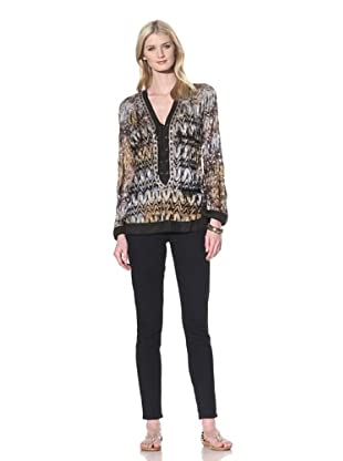Hale Bob Women's Long Sleeve Mottled Lace Tunic