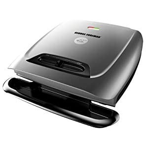 George Foreman GR2121P 8-Serving Classic Plate Grill with Variable Temperature, Platinum
