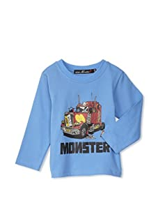 miniMONSTER Baby Boy's Trucker Long Sleeve Tee (Blue)