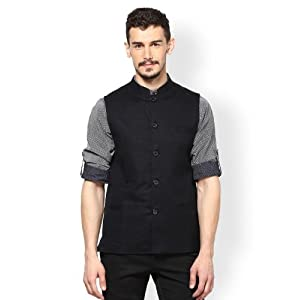 even Men Black Slim Fit Nehru Jacket