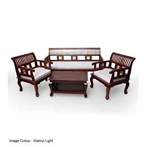 Saffron Slatted Sofa Set with Coffee Table