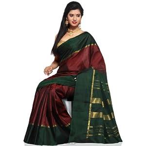 Utsav Fashion Kanchipuram Handloom Silk Saree - Dark Maroon