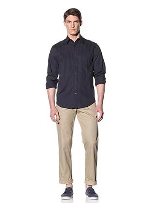 Perry Ellis Men's Tonal Stripe Shirt with Epaulettes (Eclipse)