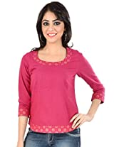 Mangalgiri Cotton Block Printed Top-L