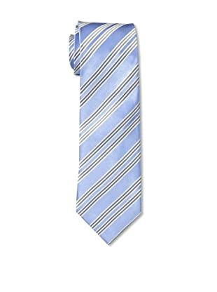 Aquascutum Men's Tie, Light Blue/Grey/White
