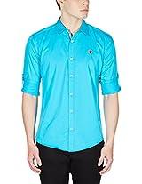 GHPC Men's 100% Cotton Casual Shirt(CS622519_44_Deep Blue)