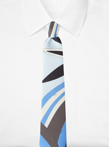 Emilio Pucci Men's Abstract Floral Tie, Blue/Light Blue