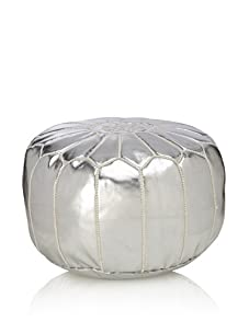 Hand-Stitched Leather Pouf (Silver)