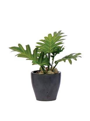 Lux-Art Silks Split Leaf in Black Pot, Green