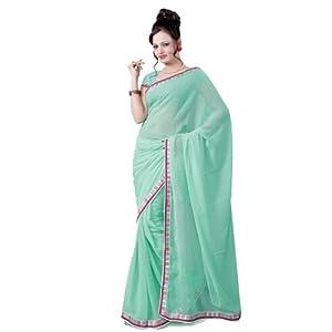 Designer Light Green Chiffon Sarees By Variation