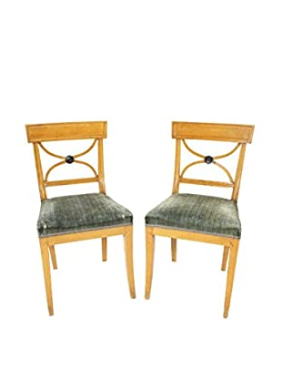 Pair of Swedish Side Chairs, Tan/Green