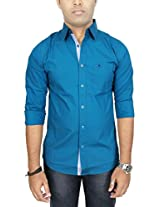 AA' Southbay Men's Peacock Blue Stretch Cotton Long Sleeve Solid Casual Shirt